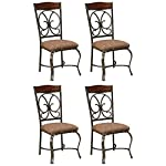 pic of signature-design-by-ashley-glambrey-dining-room-chair-set-scrolled-metal-accents-set-of-4-brown reviews