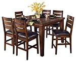 pic of ashley-furniture-signature-design-larchmont-dining-room-table-counter-height-with-built-in-extension-vintage-casual-burnished-dark-brown reviews