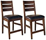pic of ashley-furniture-signature-design-larchmont-barstool-set-pub-height-upholstered-vintage-casual-set-of-2-burnished-dark-brown reviews