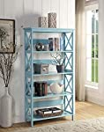 convenience-concepts-sea-foam-oxford-5-tier-bookcase picture