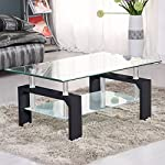 pic of suncoo-coffee-table-glass-top-with-shelves-home-furniture-clear-rectangle-black- reviews