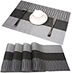 pic of famibay-bamboo-pvc-weave-placemats-non-slip-kitchen-table-mats-set-of-4-30x45-cm-color-6- reviews