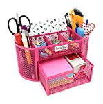 pic of easypag-mesh-desk-organizer-pencil-holder-9-compartments-with-drawer-pink reviews