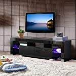 mecor-modern-black-tv-stand-with-led-lights-high-gloss-tv-stand-for-65-inch-tv-led-tv-stand-with-storage-and-2-drawers-living-room-furniture-black- picture
