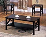 king-s-brand-3-piece-wood-x-style-casual-coffee-table-2-end-tables-occasional-set-cherry-finish reviews