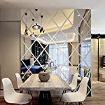 pic of 3d-wall-stickers-diy-rhombus-mirror-sticker-for-home-livingroom-decoration-silver- reviews